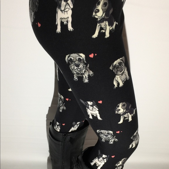 38ca97ec11c092 MomMe And More Pants   New Womens Puppy Dog Toy Breed Leggings Black ...